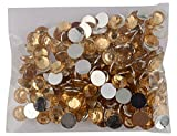 Round Golden Kundan Stones Crystal Edged Pastable for Jewellery Decoration & Crafts !! Pack of 400 Stones 6mm Golden