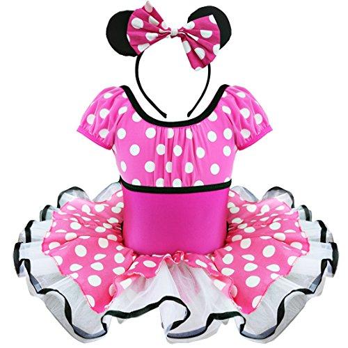 Prinzessin Tüll Kleid Polka Dots Ballett Trikot Weihnachten Karneval Cosplay Party Kleid mit Maus Ohren (92, Rosa (Tupfen)) ()