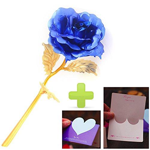 Beauty360 24K flor de oro de oro flor cumpleaños regalo decoración día de las mujeres 5 colores para las opciones nunca se desvanecen [longitud 26 cm] [brotes de diámetro 8 cm] color azul