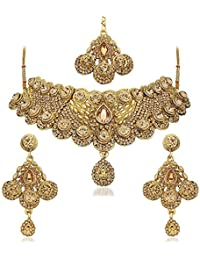 Apara Bridal Anitque Gold Plated Necklace Set and maang Tikka with LCT Stones for Women
