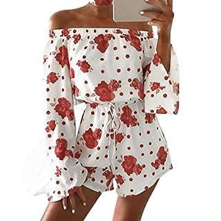 WSSB Women Ladies Floral Prints Jumpsuit Clubwear Bodycon Playsuit Romper (M)