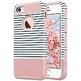 ULAK Cover iPhone 5S Silicone, iPhone 5S Cover, PC + TPU Custodia Ibrida Rigida Super Protettiva con Doppio Strato in Silicone per iPhone SE / 5, iPhone 5S (Oro Rosa + Stripes)