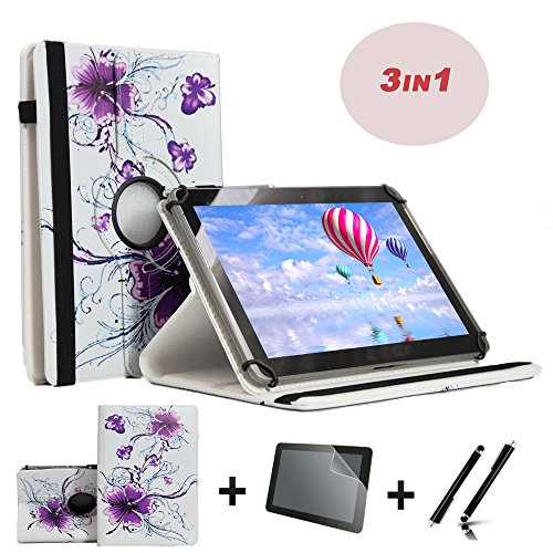 3er Starter Set für Blaupunkt Discovery A10.302 10,1 Tablet PC Tasche + Stylus Pen + Schutzfolie - 10.1 Zoll Lila Blumen 360˚