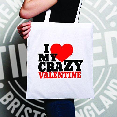 I Love My Valentine Pazzo Mens Sacchetto Di Tote Natural