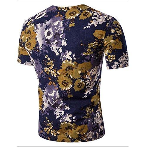 Uomo moda estiva in cotone stampa a inchiostro in stile cinese casuale a maniche corte T-shirt Slim SUITS