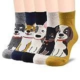 SUNWIND 5 Pares Niños Niñas Lindos Divertidos Animales Calcetines de Dibujos Animados Calcetines Suaves y Cómodos Para Niños (Perro, S-(3-5 años))