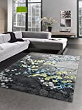 Carpetia Designer Teppich Kurzflor Wohnzimmerteppich Blumen Grau türkis Blau Größe 200 x 290 cm