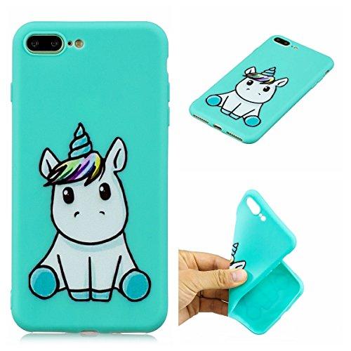 E-Mandala Cover Custodia Apple iPhone 7 Plus 8 PlusBlu Unicorno Silicone UltraSlimTPU GommaMorbidaBumperCaseProtective Antiurto