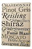 Cartel Letrero de Chapa XXL Nostalgic Tipos de vinos carta de vinos Blanco
