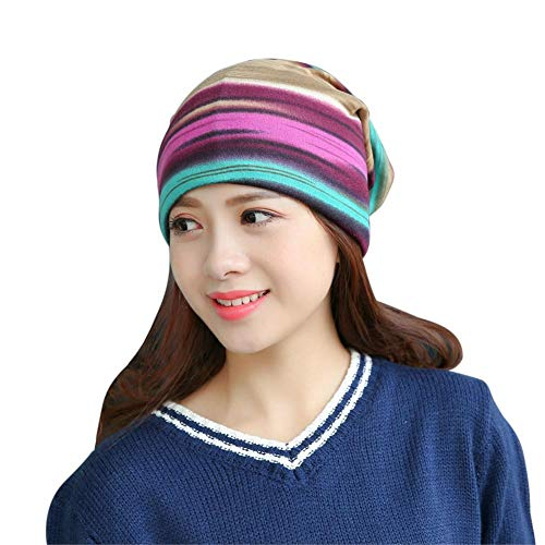 Biback Women's Striped Beanie Chemo Hut Schal Multi Funktion Baggy Horsetail Turban Cap