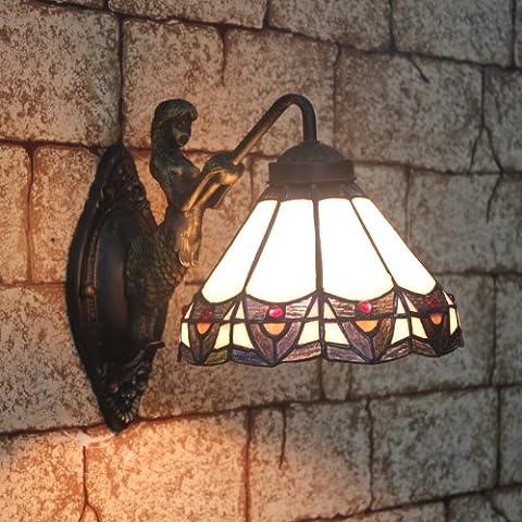 Tiffany 8-Zoll-Farbglaswandlampe Mermaid einzigen Scheinwerfer