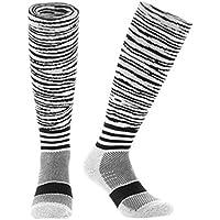 Samson Hosiery® Moda cebra imprimir FUNKY novedad regalo calcetines de fútbol RUGBY deportes y Casual rodilla alta calcetines para hombres mujeres niños unisex
