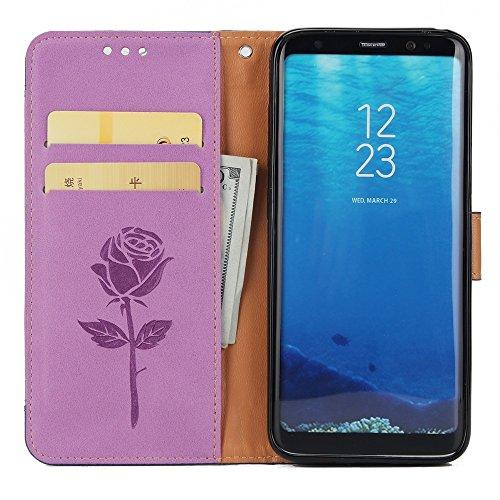 Dual Color Matching Premium PU Leder Flip Stand Case Cover mit Card Cash Slots und Lanyard für Samsung Galaxy S8 ( Color : White ) Purple