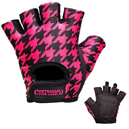 Hahnentritt-bad (Contraband Pink Label 5257Damen Design Series Hahnentritt Print Lifting Handschuhe (Paar), schwarz / rosa)