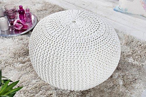 Sitzpuff Sitzhocker Bodenkissen ver. Farben Ø 50 cm, 55 cm oder 80 cm Baumwolle (weiß)