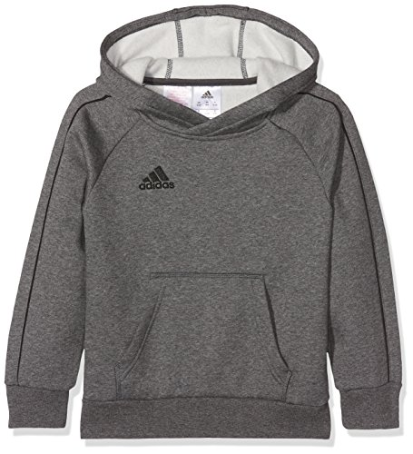 adidas Kinder Core 18 Hoodie, Grau (Dark Grey Heather/Black), 152