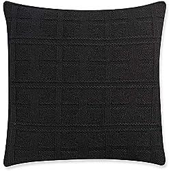 Scandica Dekorativer Kissenbezug Kissenhülle Zierkissenbezug mit dreidimensionalen geometrischen Strickmustern 50х50cm Schwarz