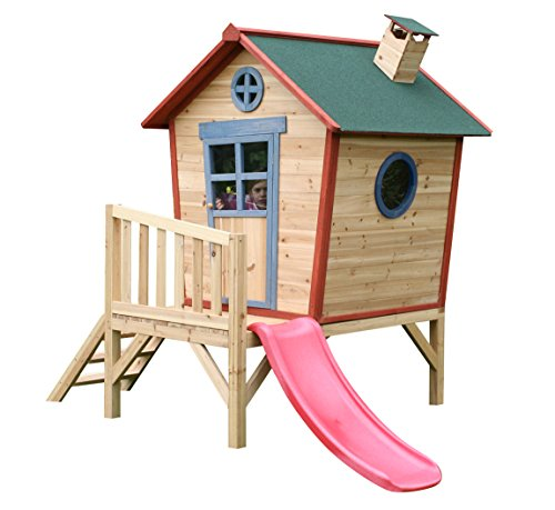 Redwood-Tower-Childrens-Painted-Wooden-Playhouse-Crooked-Garden-Wendy-Play-House-on-Stilts-with-Slide