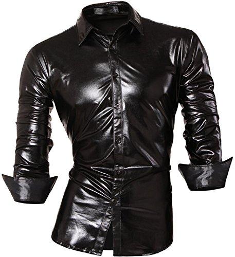 Jeansian Hombre Camisas Moda Manga Larga Men Fashion Slim Fit Casual Long Sleeves Shirts Z036 Black L