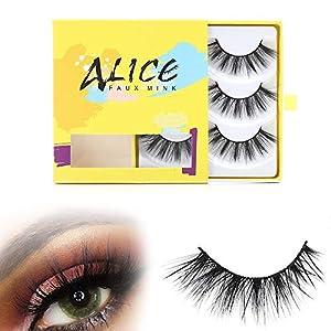 ALICE Faux Mink Eyelashes 3D False Eye lashes Wispies 3 Pair