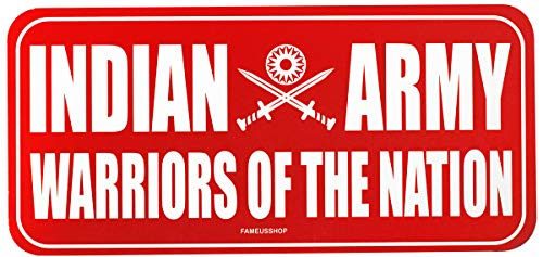 FameUs Car/Wall / Door Both Side Printed Sticker - Indian Army (Warriors of Nation), Color - Red & White Sticker in 300 GSM Paper 7.7 x 3.6 Inches