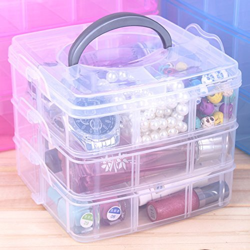 ON GATE 3 layers detachable DIY desktop storage box Transparent Plastic Storage Box Jewelry Organizer Holder Cabinets for small objects