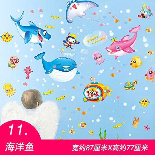 (Smncnl Selbstklebende wand Aufkleber kinderzimmer Wand Wand Dekorationen der Klassenzimmer Stil Kinderzimmer Schlafzimmer und Schildkröte Poster, 11 Marine Fische)