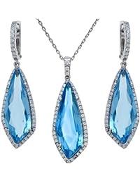 Citerna Damen Schmuck-Set Ohrringe Kette Sterling-Silber 925 Blautopas Zirkonia 46cm
