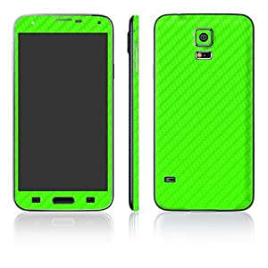 STICK_ME Carbon Fiber Full Mobile Skin Decal for Samsung Galaxy S5 - Green