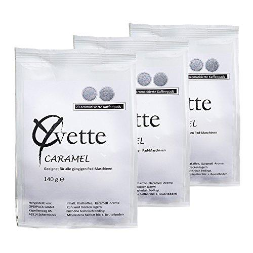 Yvette Caramel Kaffeepads, Karamell, Aroma Pads, Röstkaffee, Kaffee, auch für Senseo, 3 x 20 Pads
