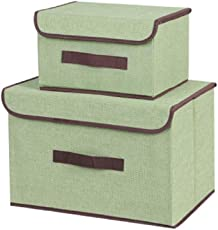 SYGA Set of 2 Sizes Cotton & Liene Dust-Proof Storage Box Organizer for Clothes(Green)