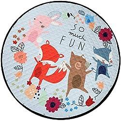 Zicac Multi-fonction Pliable Tapis de Jeu Tapis d'Éveil Organisateur de Jouets pour Bébé Enfant Tout-petit Motif Cartoon Coloré (Renards)