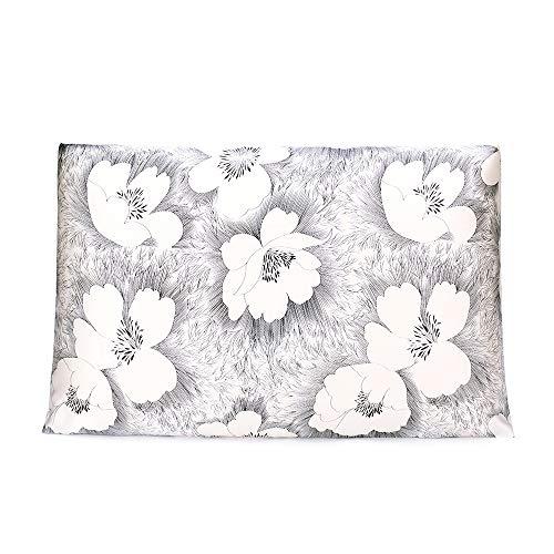 OLESILK 100% Seide Kissenbezug Kissenhülle Haar- und Hautpflege mit Reißverschluss 16 Momme 1 Stück Weiß-Schwarz mit Blumen Muster 40x80cm (Und Schwarz Blumen Seide Weiß)