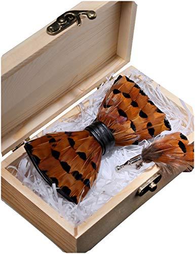Hochzeit Party Leder Fliege Feder Fliegen mit Geschenkbox Set für Herren (5) ()