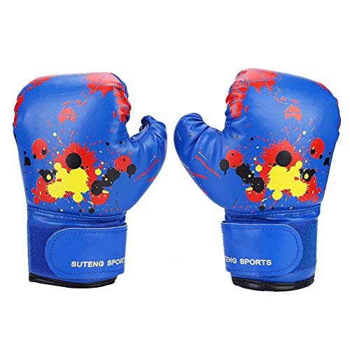 Bnineteenteam Kinder Boxhandschuhe, Kinder Cartoon PU Leder Boxhandschuhe Anfänger Sparring Trainingshandschuhe im Alter von 2-11 Jahre alt (Blau)