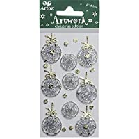 Silver Xmas Bauble Craft Embellishment Xmas and Festive Celebration Card Topper Scrapbooking Stickers