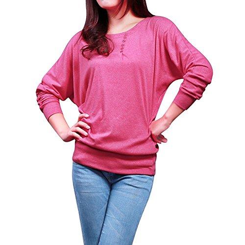Bigood Chemise Femme Chic T-shirt Manche Longue Top Col Rond Blouse Haut Casual Elégant Rose