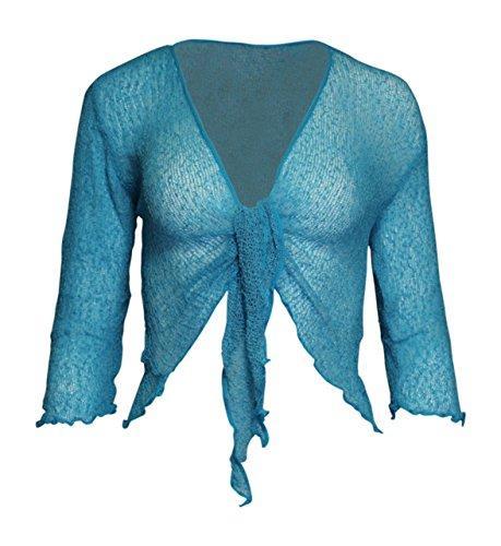 Mesdames Femme de Dames Womens Ladies Bali Plain Colored Fish Net Super Stretch Tie-Lace Cardigan Bolero Shrug Cardigan avant ouvert (une taille) Turquoise