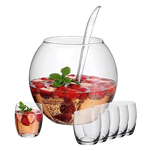 WMF Bowleset 8-teilig Bowlegefäß Bowleschale aus Glas ca. 4,3 Liter mit Schöpflöffel aus Kunststoff + 6 Bowlegläser aus Glas ca. 350ml spülmaschinengeeignet