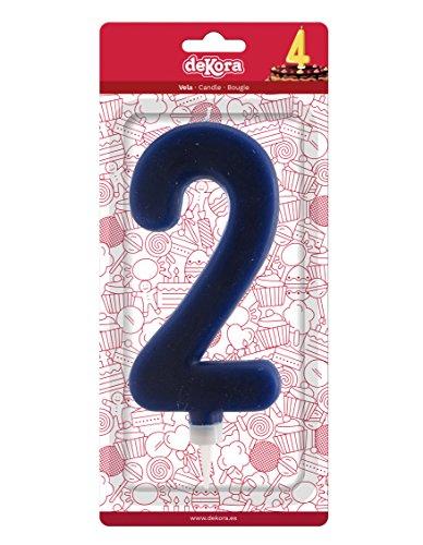 Dekora 345279 Vela de Cumpleaños Gigantes Número 2 de Color Azul, Cera, 15 cm