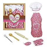 Toyvian Kinder Koch Set Kochen Spiel Koch Kostüm mit Schürze,Kochmütze Utensilien für kleine Mädchen Rollenspiel Kochen