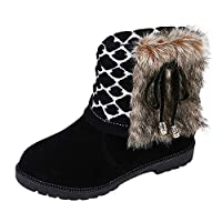 Lazzboy Ankle Boot Women Knitted-Cuff Faux Fur Lined Suede Snow Boho Aztec Ethnic Vintage Warm Winter Ladies Shoes