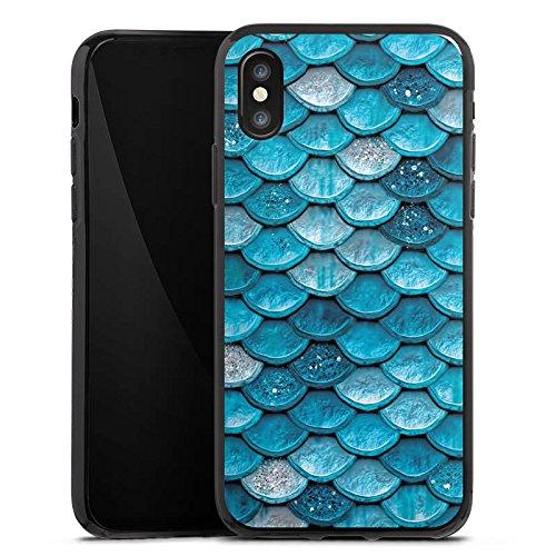 Apple iPhone 6 Plus Silikon Hülle Case Schutzhülle Mermaid Meerjungfrau Schuppen Silikon Case schwarz