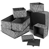 Queta 8Pcs Boites de Rangement Ouvertes en Textile Non-Tissé Cube de Rangement Pliable Organisateur de Tiroir Coffre pour Lin