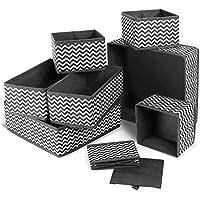 Queta 8Pcs Boites de Rangement Ouvertes en Textile Non-Tissé Cube de Rangement Pliable Organisateur de Tiroir Coffre…