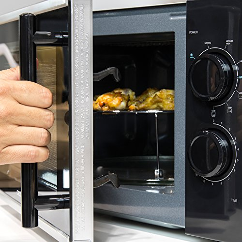 Microondas plateado con grill, input 1200 W, output 700W, grill de 900W, 20 l, 9 niveles, Cecotec Silver