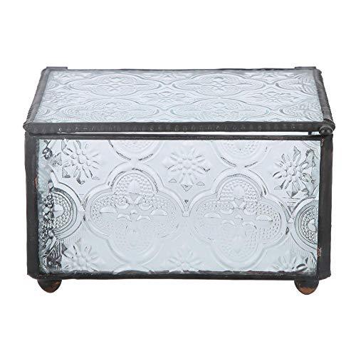 AUNMAS Moderne Glasbox Modische Glasmalerei Schmuckstück Andenken Kristall Ring Schmuck Organizer Display für Mädchen Geschenk Dekoration -