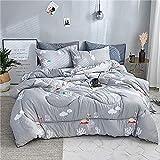 WENZHEN Revital Daunendecke Bettdecke,Winter Tröster Vogel verdicken Gesteppte Quilts Home Bettwäsche gedruckt warm halten Quilt mit Füllung-180 * 210 cm_K
