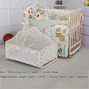 QINYUN Crib Solid Wood Unpainted Crib Baby Bed Cradle Multifunctional Stitching Bed,D   13