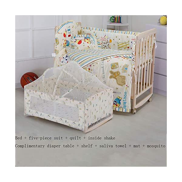QINYUN Crib Solid Wood Unpainted Crib Baby Bed Cradle Multifunctional Stitching Bed,D QINYUN 1. Wear-resistant, corrosion-resistant, fine texture, hard wood and strong stability. 2. Large bed needles are convenient for mothers to feed. 3. Game fence, baby's game world, can also walk easily. 1